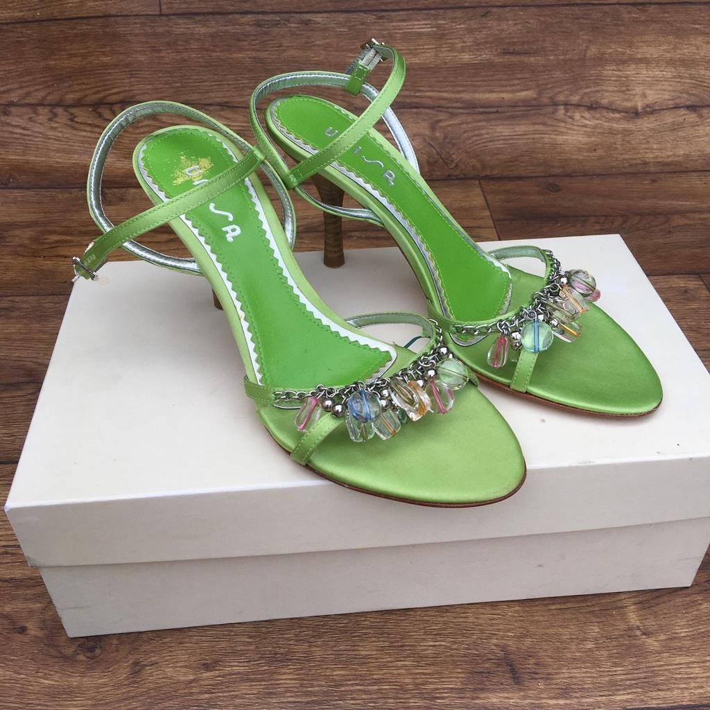 96858f397 SIZE UK 5 UNISA GREEN SATIN JEWELLED PARTY SHOES STILLETOS STRAPPY SANDALS  | eBay