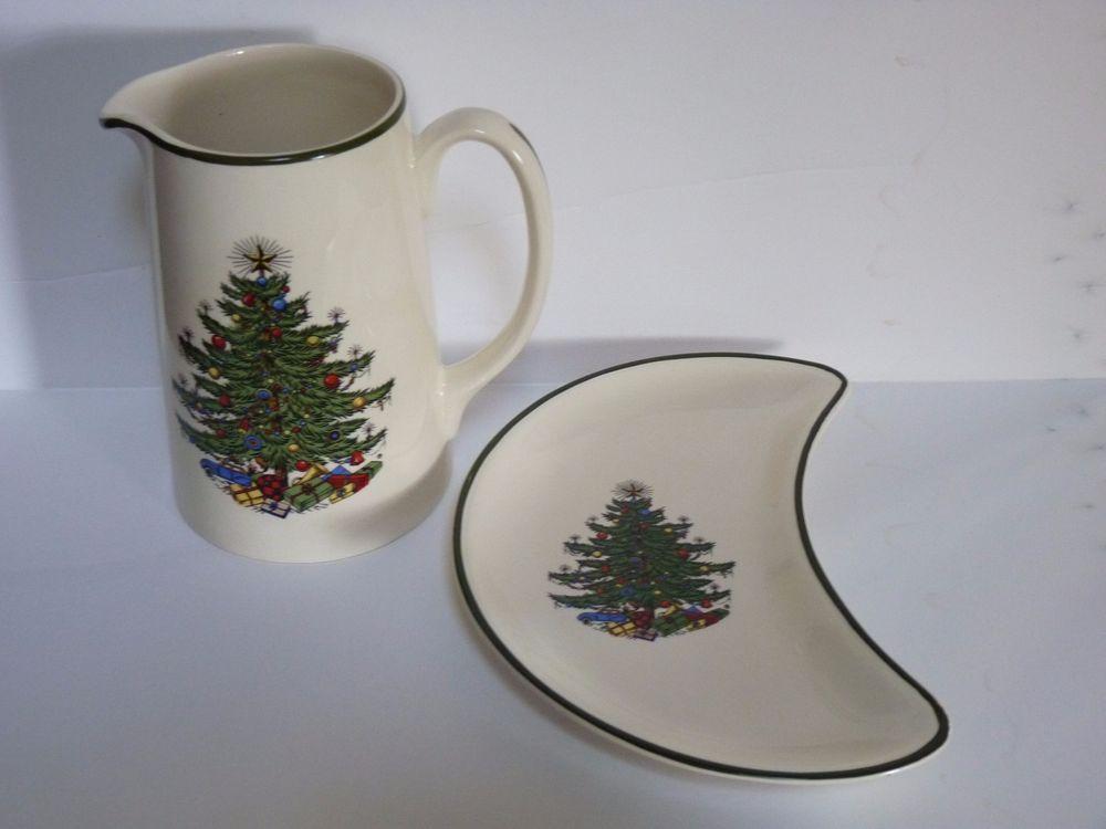 Cuthbertson Original Christmas Tree Tall Pitcher + Crescent Dish