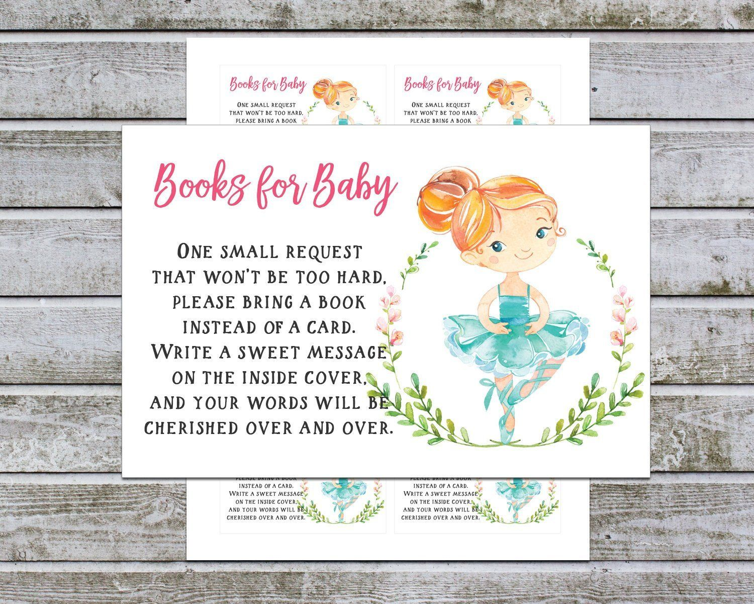 Bring a book instead of a card book request card printable