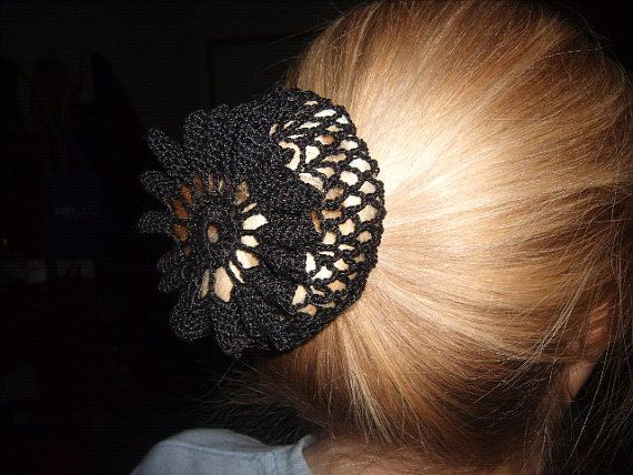Hand Crochet Black Hair Snood Bun Cover By Brendascreations 699