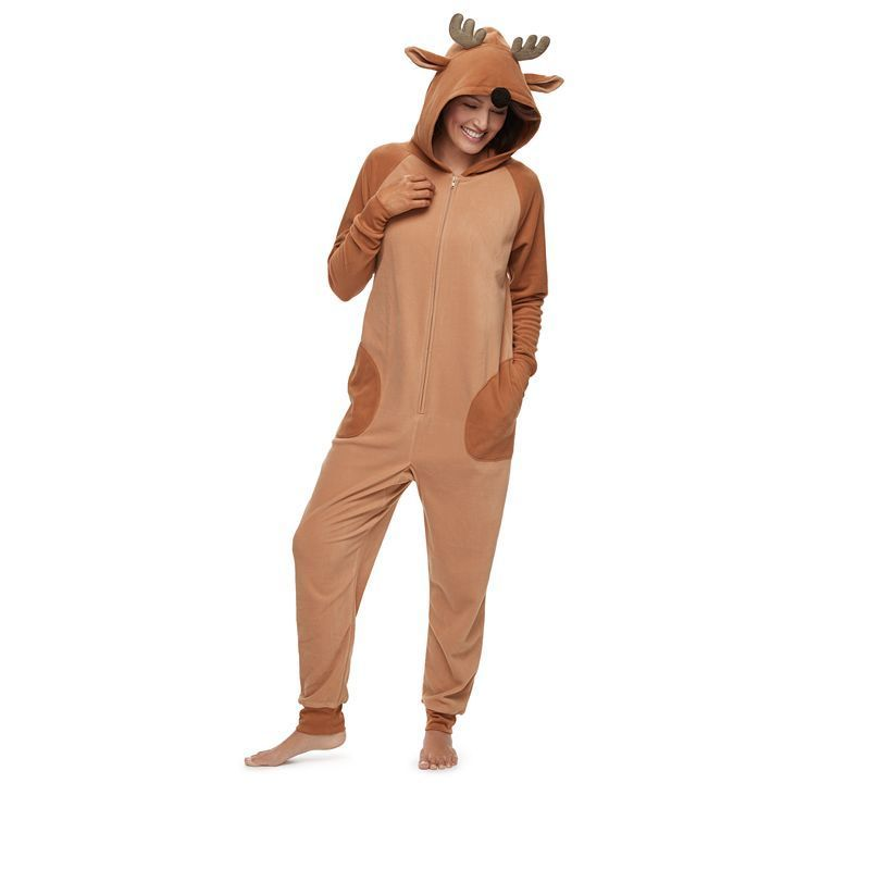 ee5301f3e080 Women s Jammies For Your Families Reindeer 3D Antler One-Piece ...