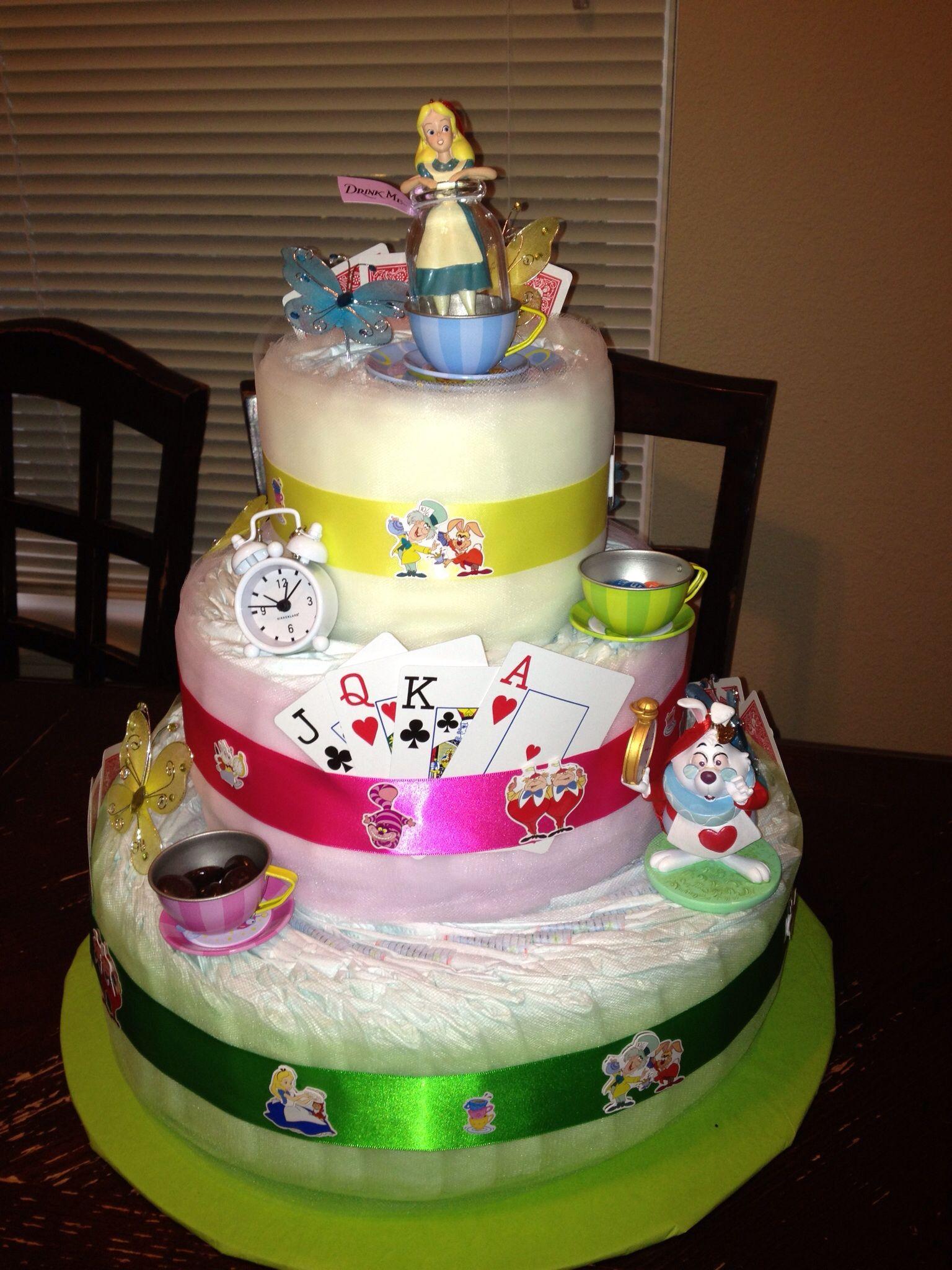 Alice In Wonderland Diaper Cake