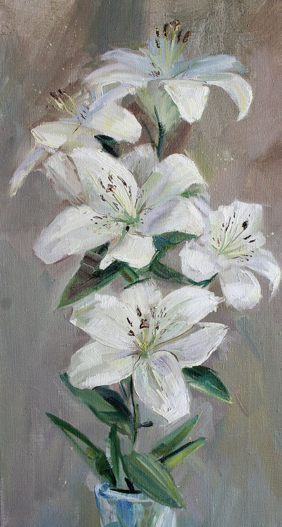 White lily flower Original oil painting still life wall
