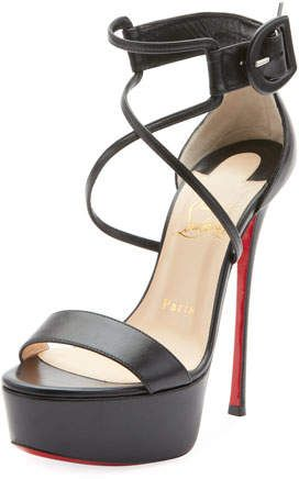 e3305bede6a Christian Louboutin Choca 130mm Leather Platform Red Sole Sandal in ...