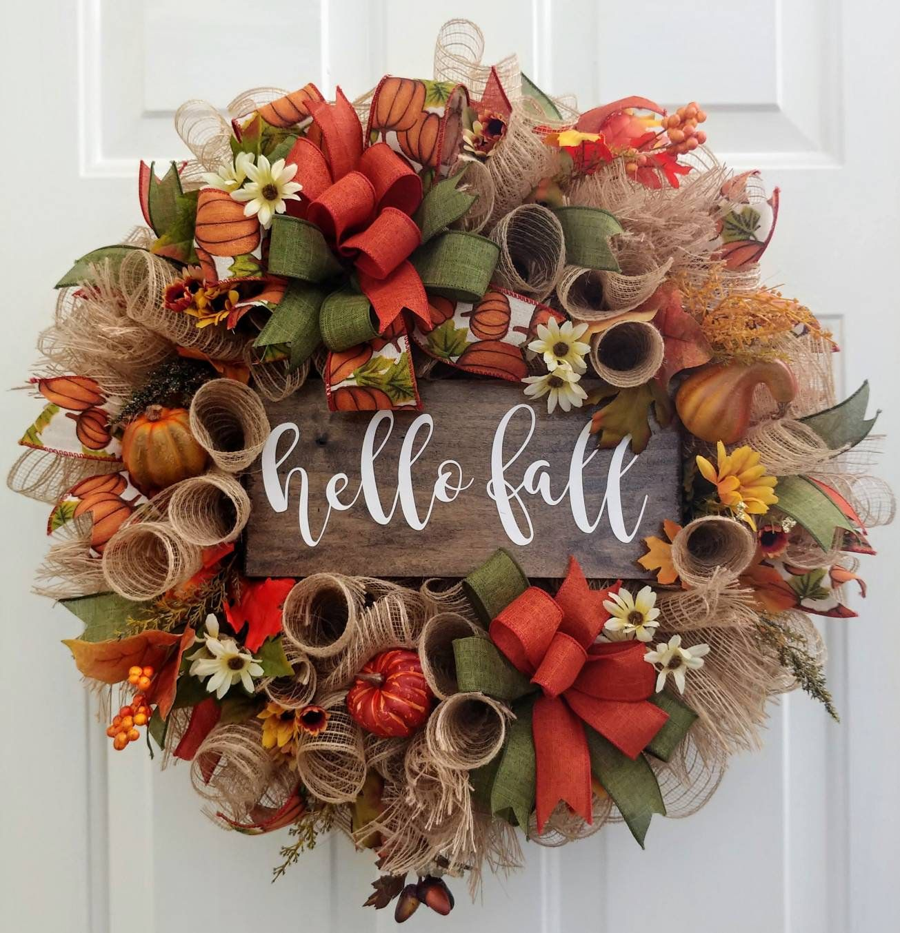 Fall wreath, hello fall wreath, burlap fall wreath, fall floral wreath, fall door wreath, Thanksgiving wreath, Autumn wreath #hellofall