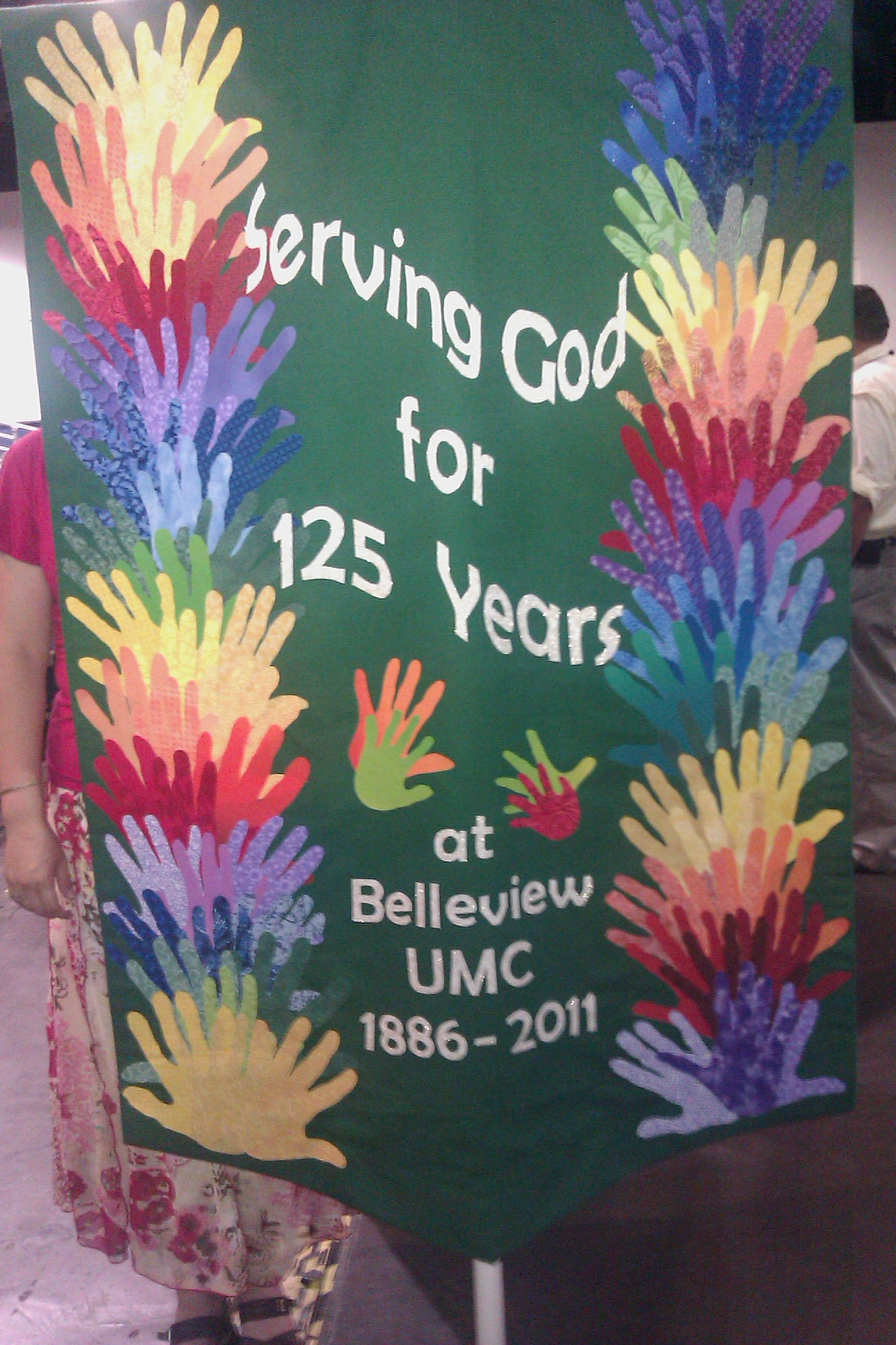 Banner with hands   Anniversary banner, Church banners ...