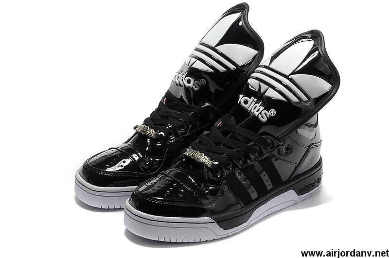 Discount Girl Adidas X Jeremy Scott Big Tongue Shoes Black Shoes Store