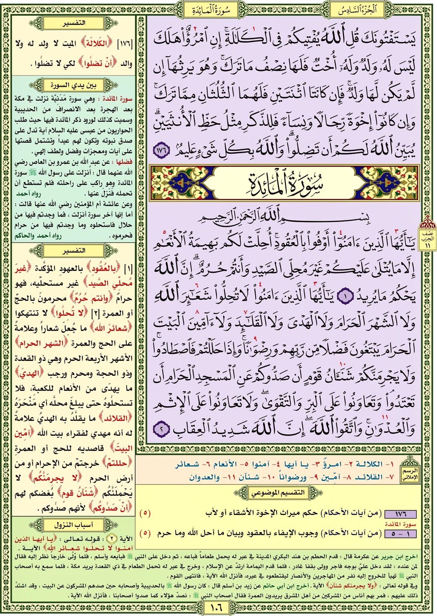 سورة النساء صفحة رقم ١٠٦ مصحف التقسيم الموضوعي للحافظ المتقن Quran Verses Verses Bullet Journal