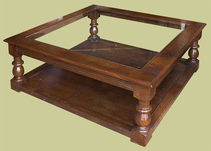 Period Style Large Square Oak Coffee Table With Gl Top