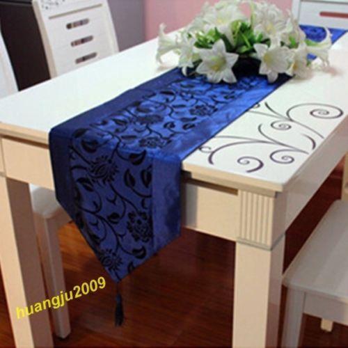 Wedding Decor Raised Flower Blossom Flocked Damask Table Runner Cloth