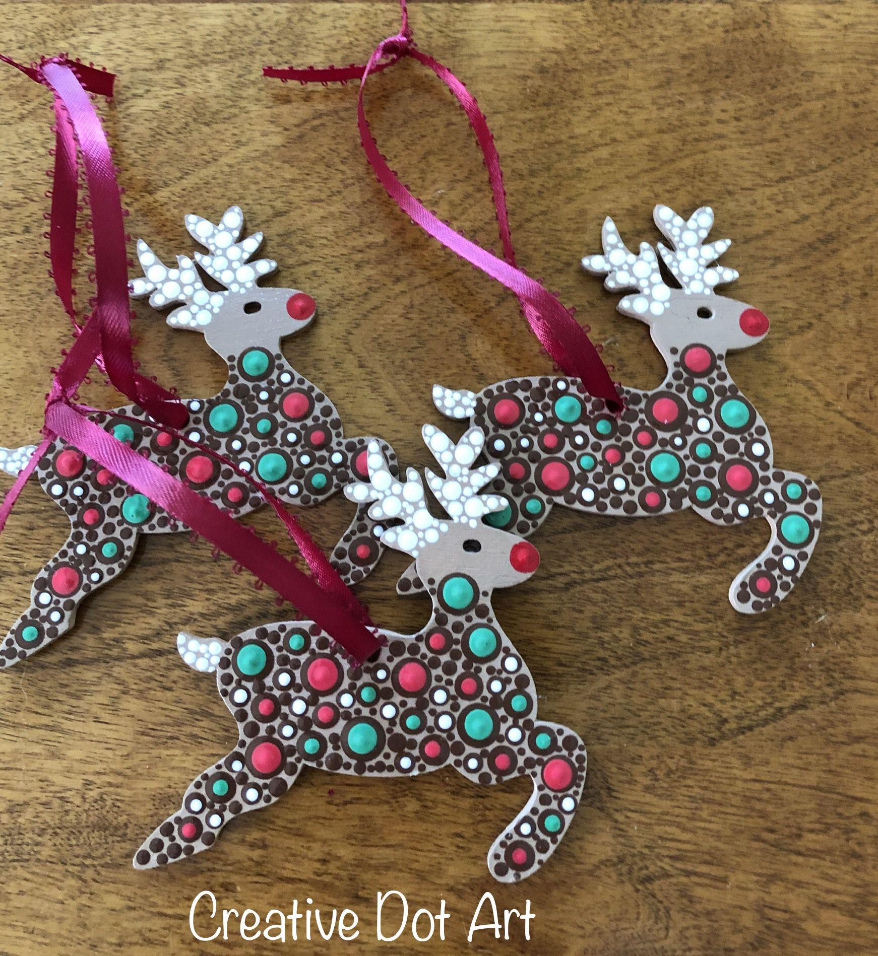 Wood Reindeer Ornaments Christmas Tree Painting Christmas Mandala Handmade Christmas Ornaments