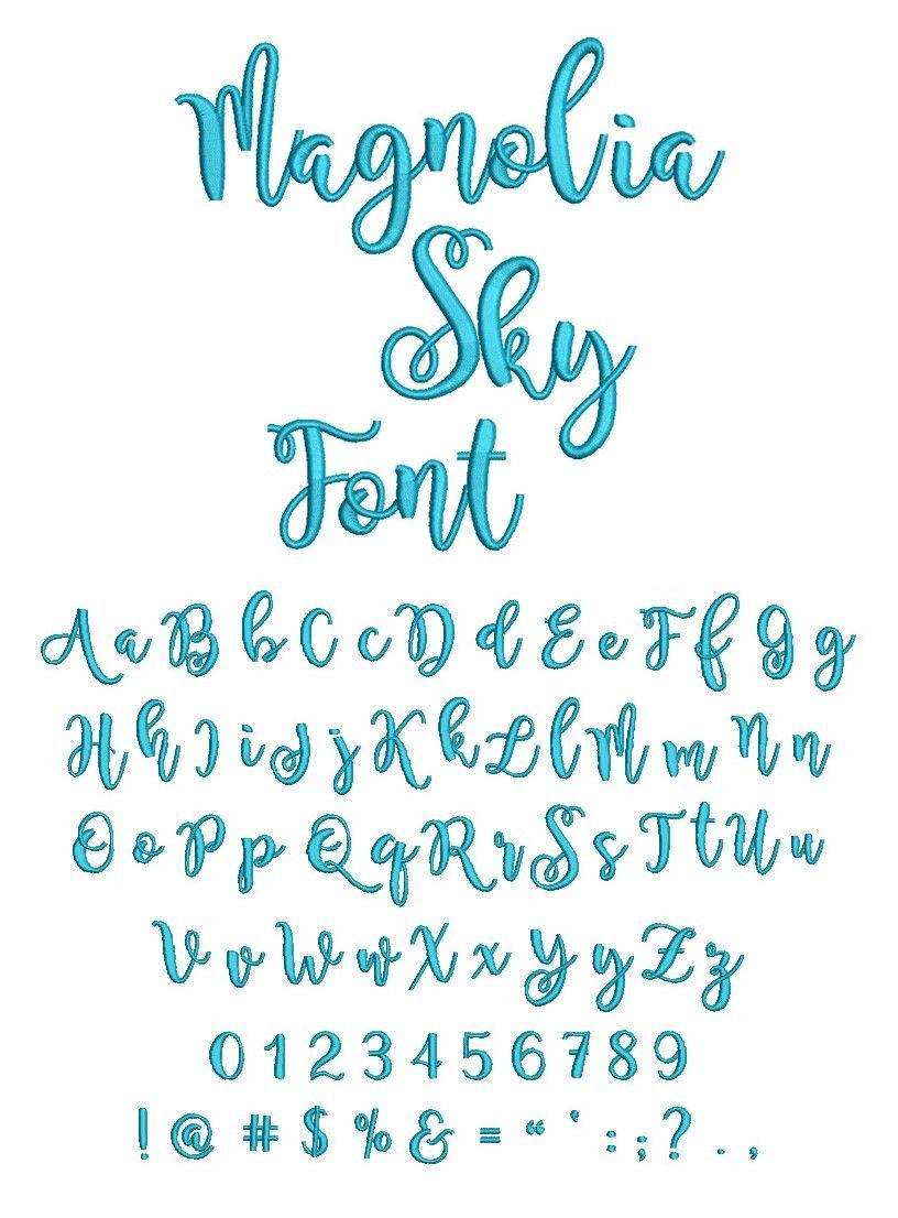 Magnolia Sky Glyphs : magnolia, glyphs, Magnolia, Embroidery, Fonts,, Lettering,