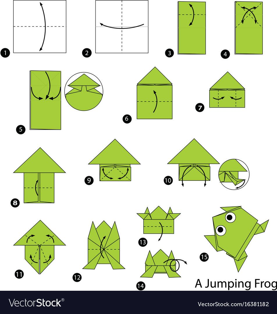 Make origami a jumping frog vector image on VectorStock