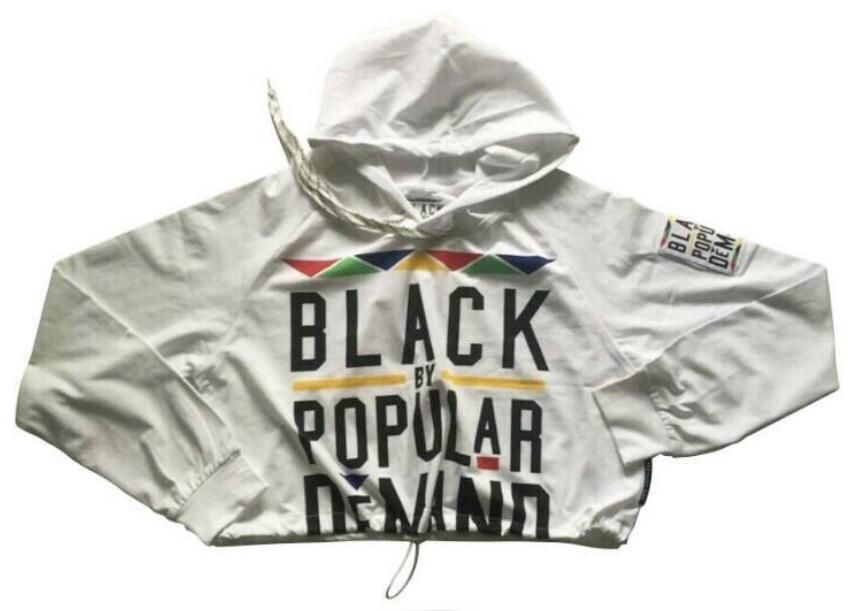 BLACK BY POPULAR DEMAND® White Women's crop hoodie