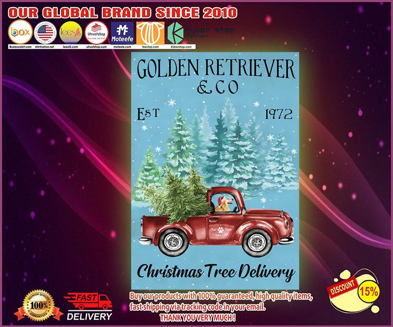 Golden Retriever Christmas Tree Delivery Satin Portrait Poster