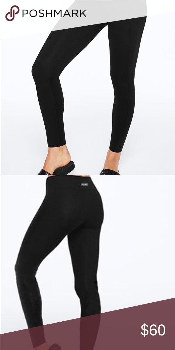 Victoria Secret Pink High Waist Yoga Leggings Pants In Size L Black
