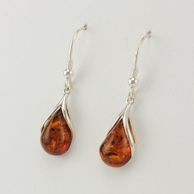 Sterling Silver Baltic Amber Teardrop Earrings
