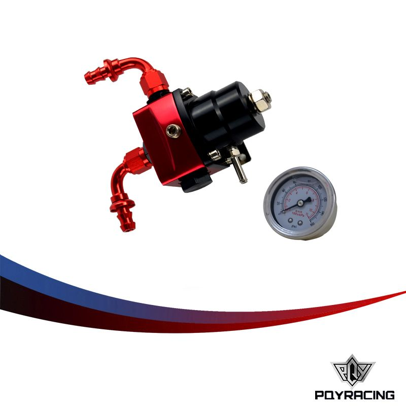 PQY- fpr AN6 Fitting DIY Black&Red fuel pressure regulator