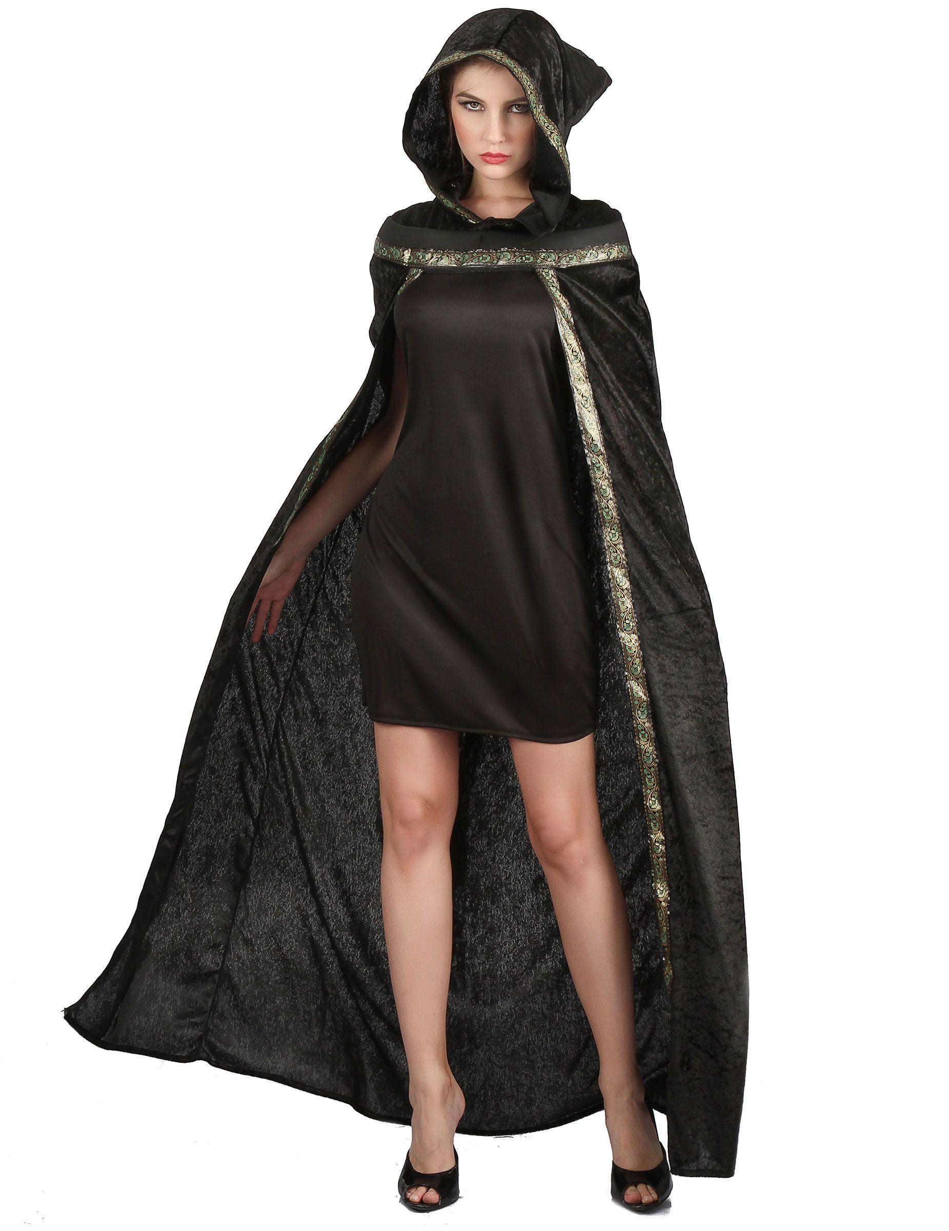 Disfraz capa de bruja larga terciopelo negro mujer Halloween  Esta capa para  adulto es de 95c058ddf54
