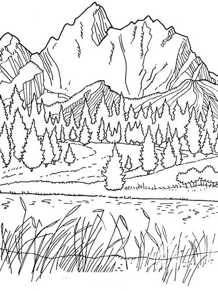 Mountains Coloring Pages Picture Spring Coloring Pages Adult