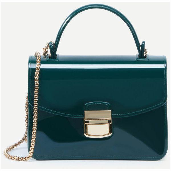 Green Pushlock Closure Plastic Handbag With Chain Shein Sheinside Liked On Polyvore