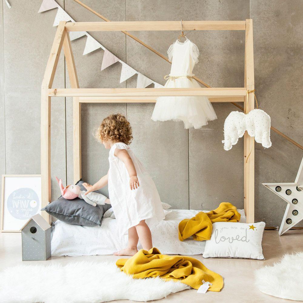Cama casita de madera espacios b pinterest casa de for Casita de madera ikea