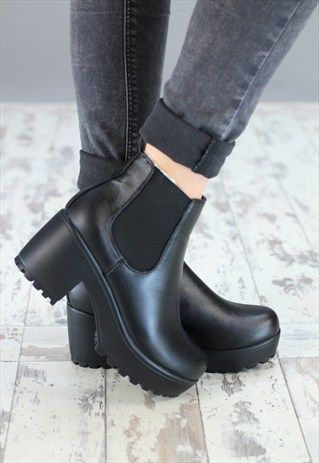 WOMENS BLACK SMALL HEEL PLATFORM BOOTS | ▫▫KICKS▫▫ | Pinterest ...