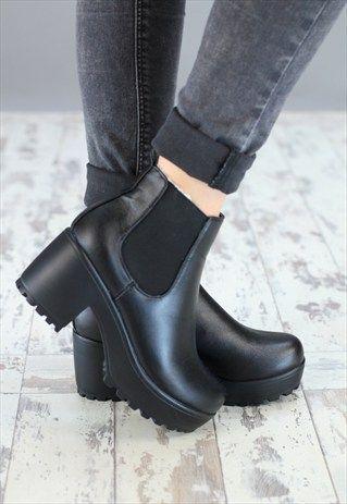 black small platform heels
