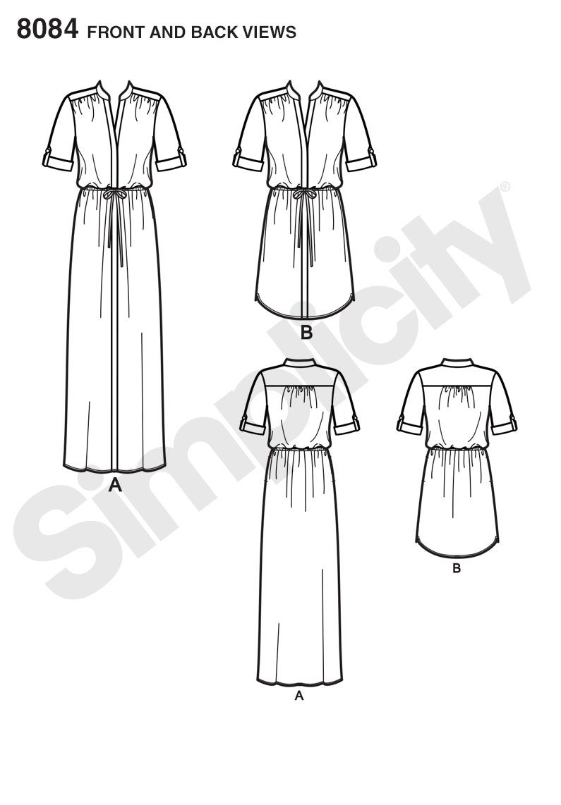 Simplicity 8084 Misses\' and Miss Plus\' Shirt Dress in Two Lengths ...
