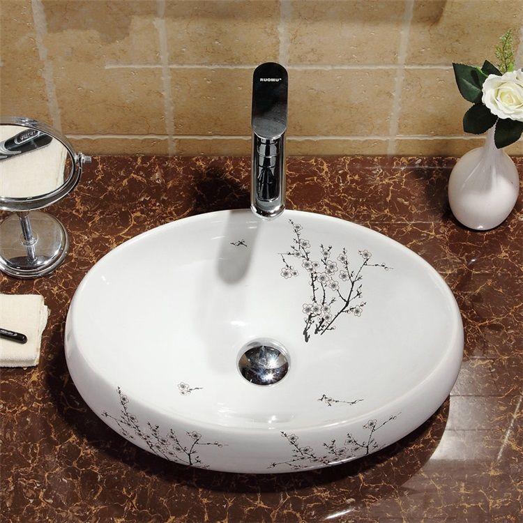 洗面ボール 手洗い鉢 洗面ボウル 洗面台 手洗器 陶器製 梅花柄 楕円形