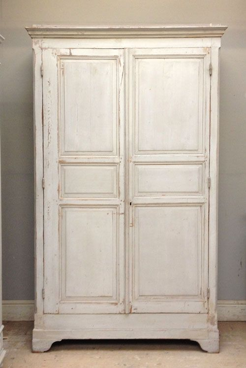 Battered Shabby Chic French Armoire / Cupboard   Pavilion Gray Shades And  Original Distressed Paintwork