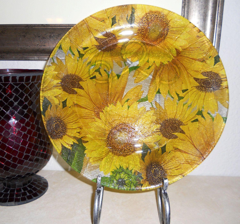 """Yellow Kitchen Theme: SUNFLOWER BURST 10 1/2"""" Round Sunflower Decor, Bright"""