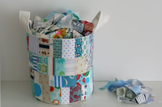Great use of scraps for a bucket - must buy the pattern too!