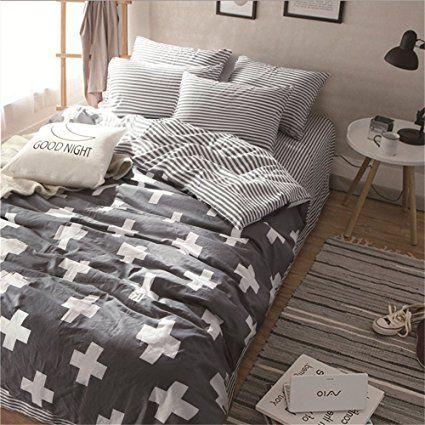Amazon Com Vougemarket 3 Piece Duvet Cover Set Queen King Duvet Cover With 2 Pillow Shams Hotel Q Duvet Cover Sets Geometric Duvet Cover Full Bedding Sets