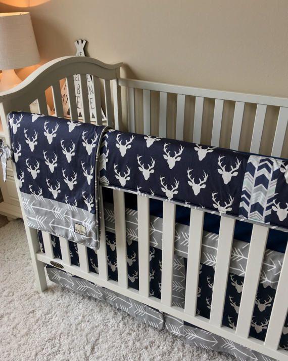 Navy Deer Crib Bedding Grey Arrows Crib Bedding Grey Bumperless Crib Bedding Baby Boy Bedding Navy Crib Crib Bedding Boy Baby Boy Bedding Navy Crib Bedding