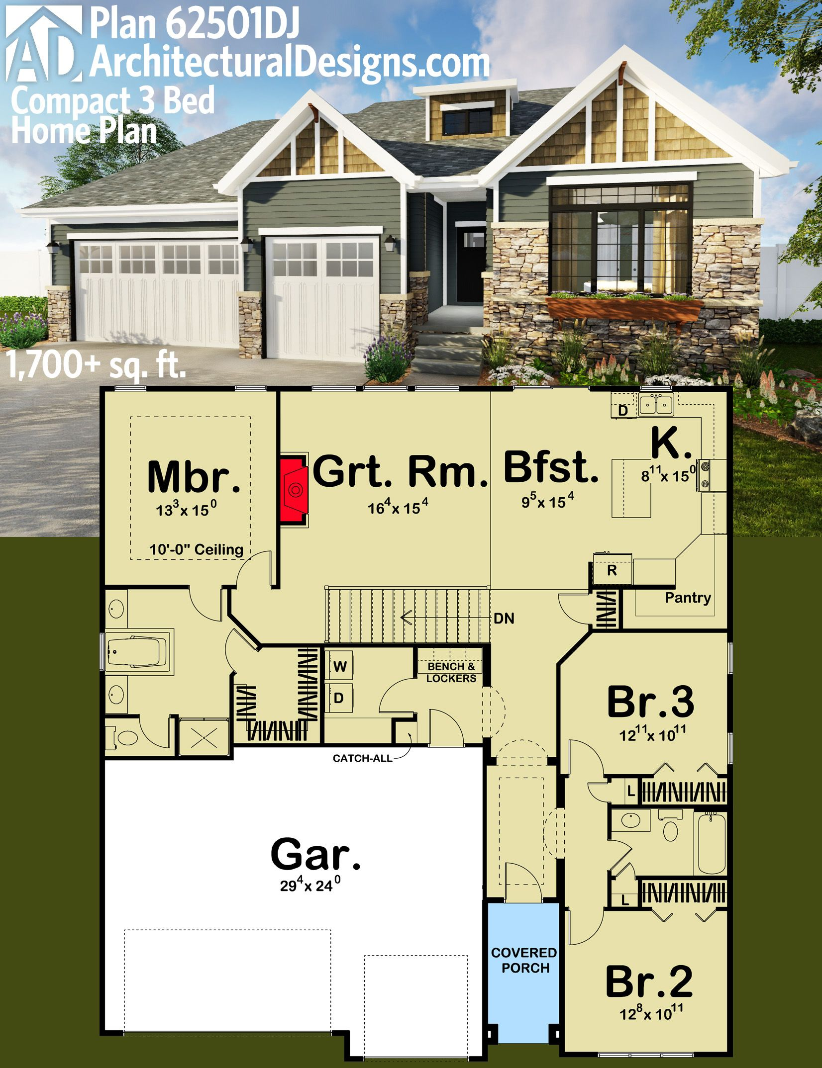 Architectural designs compact 3 bed house plan 62501dj for 5000 square feet in square meters
