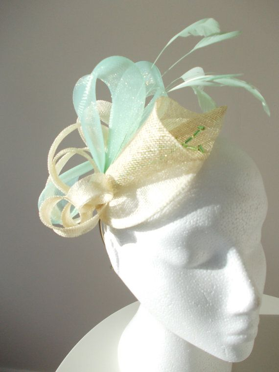 Fascinator hat natural sinamay and mint green by Spirit of Harlequin 92448007c4e