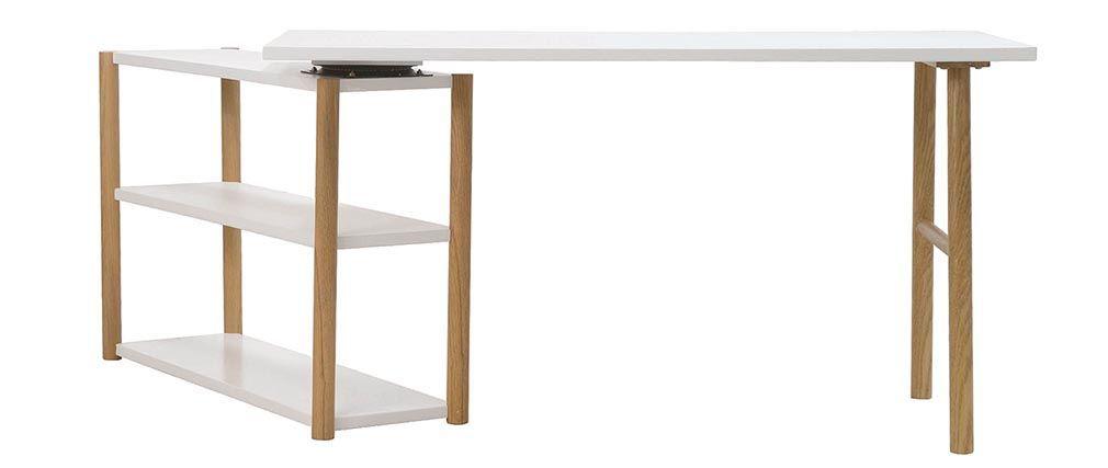 Bureau pivotant design scandinave blanc et chêne GILDA pour le - Hauteur Table Salle A Manger