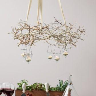 Diy Decorating How To Create A Branch Chandelier With Images Kattokruunu Diy Decor Diy Diy Valaistus