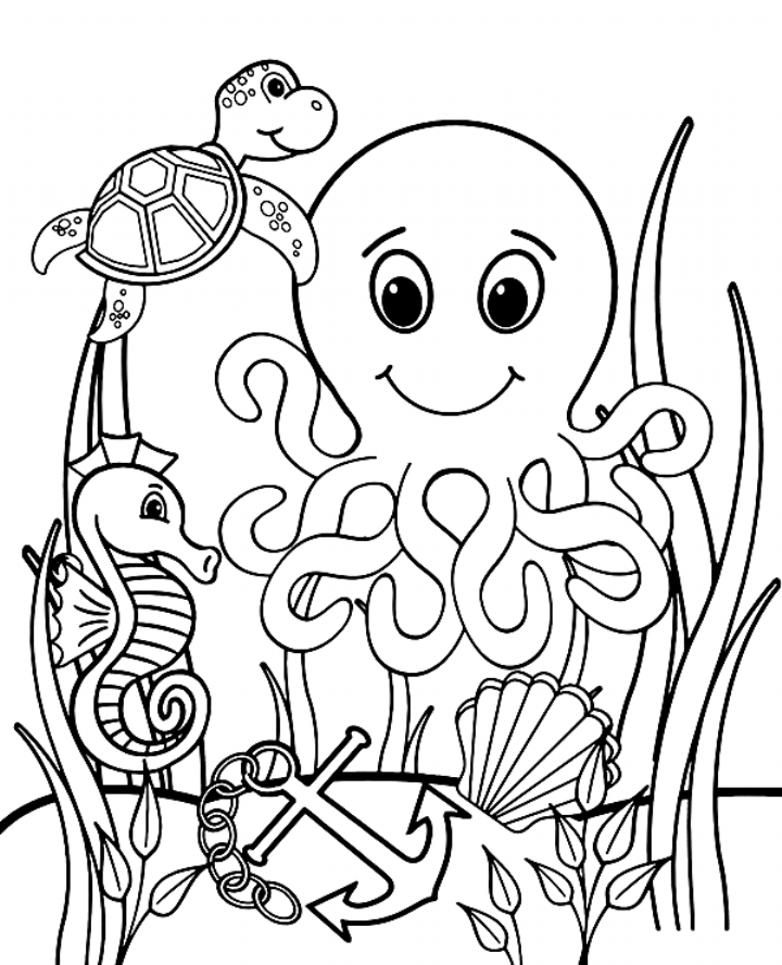 Sea animals to color free coloring worksheet, fish