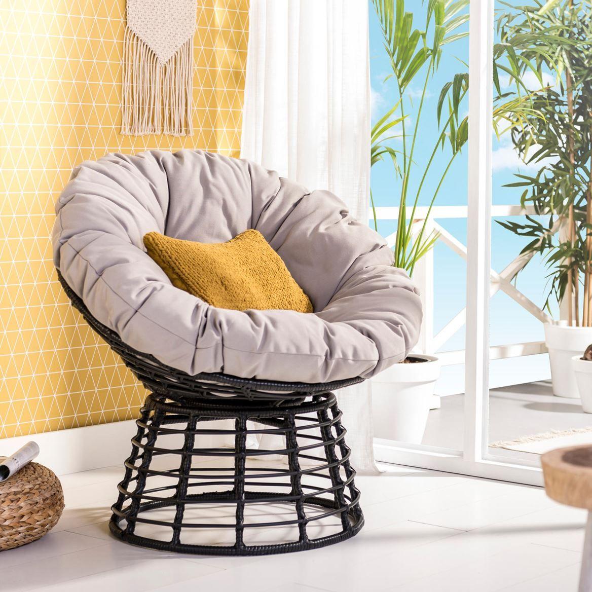 Papasan Outdoor Lounge Chaise Papasan Outdoor Lounge Chaise Stoelen Stoel Grijs Tuinstoelen