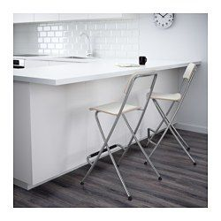 Franklin Bar Stool With Backrest Foldable White Silver Color