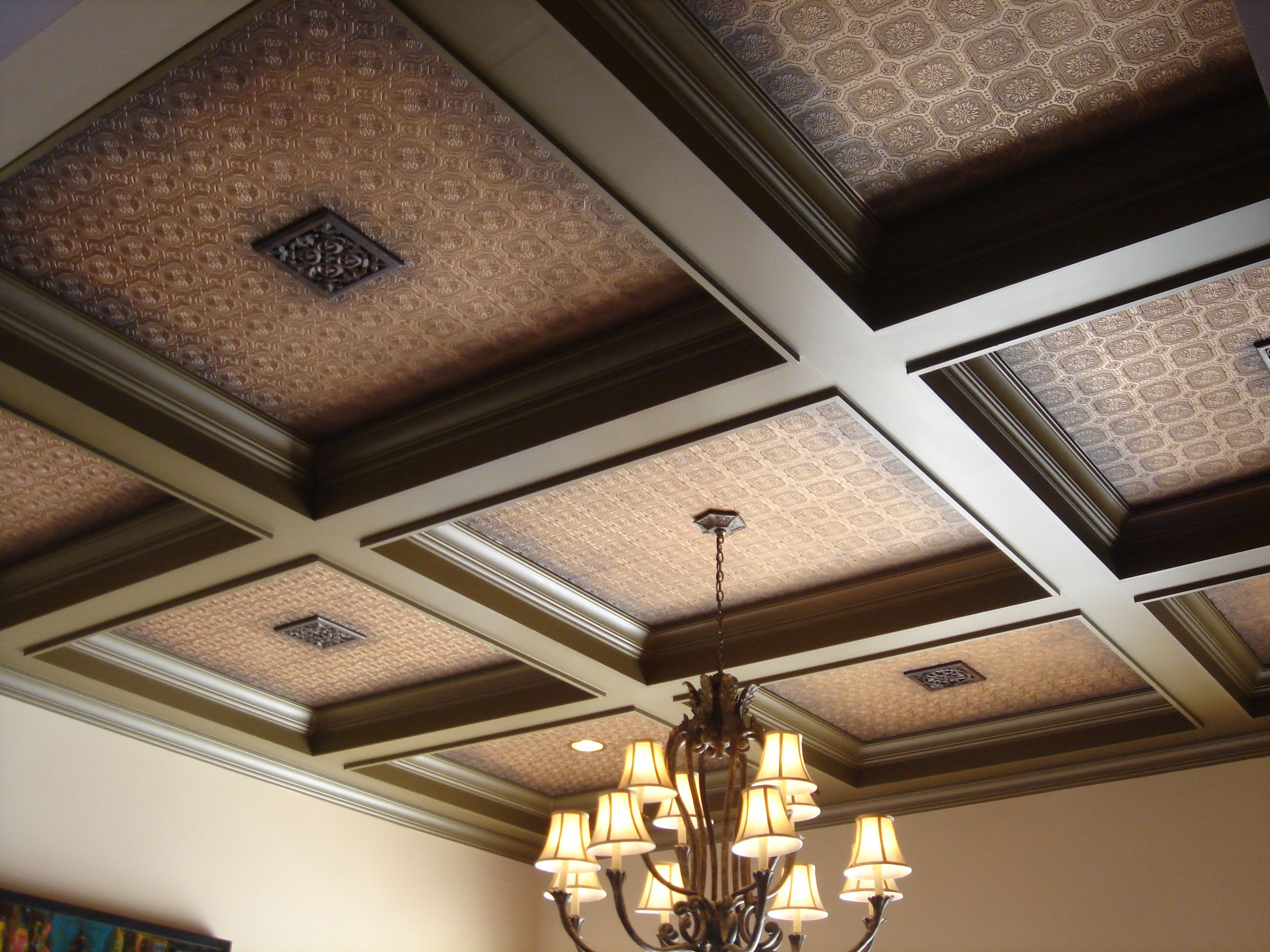 Coffered ceiling attic addict pinterest coffer for Coffered ceiling paint ideas