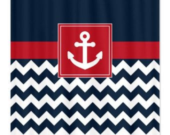 Red And Navy Shower Curtain. Nautical Shower Curtain Navy and White Chevron Brick Red Anchor Customize  with colors
