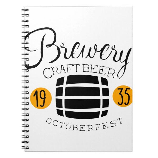 Brewery Logo Design Template With Barrel Notebook Custom office - office supply template