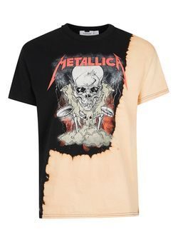 22f27cef Black and Peach Metallica Print Oversized T-Shirt | Fashions Trends ...