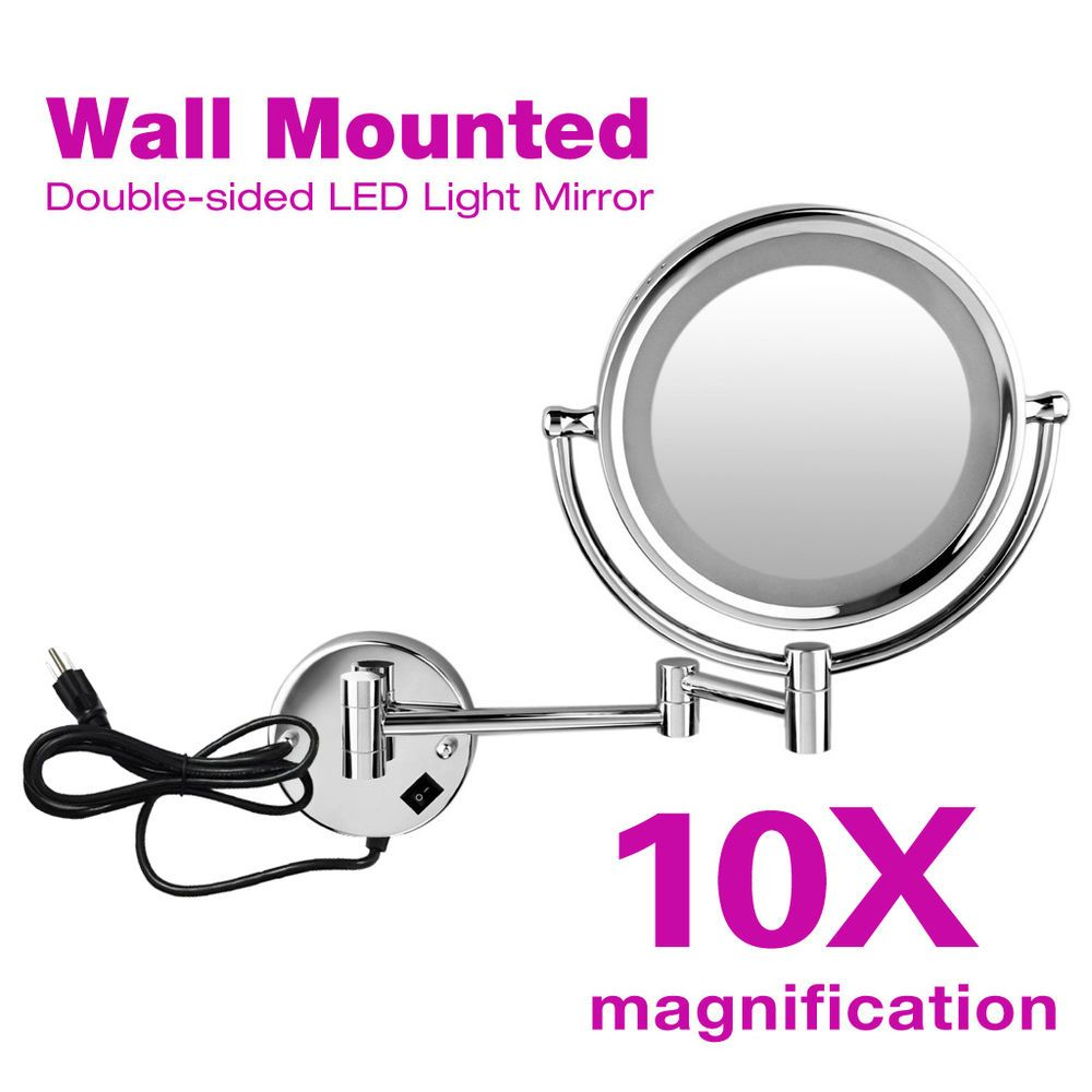 Wall Mount LED 10x Magnifying Compact Cosmetic Makeup Mirror Lighted Dual Sided #Unbranded