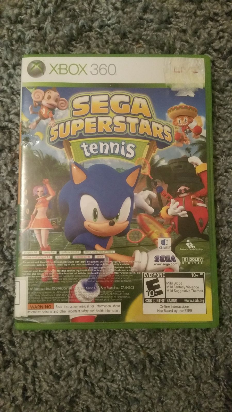 Sega Superstars Tennis Wii Game Complete Excellent Condition Sega Xbox Sega Video Games