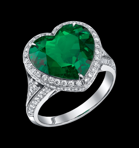 shaped meteorite emerald ring and with white gold products heart