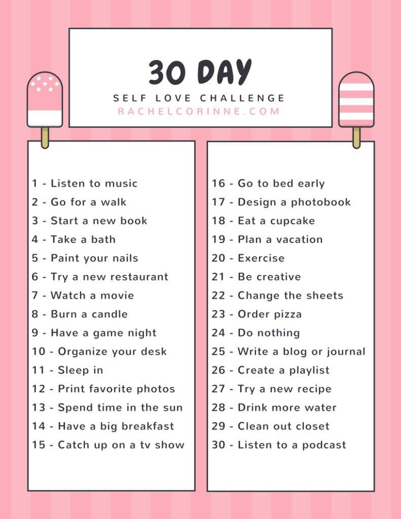 30 Day Self Care Challenge in 2020 (With images) Love
